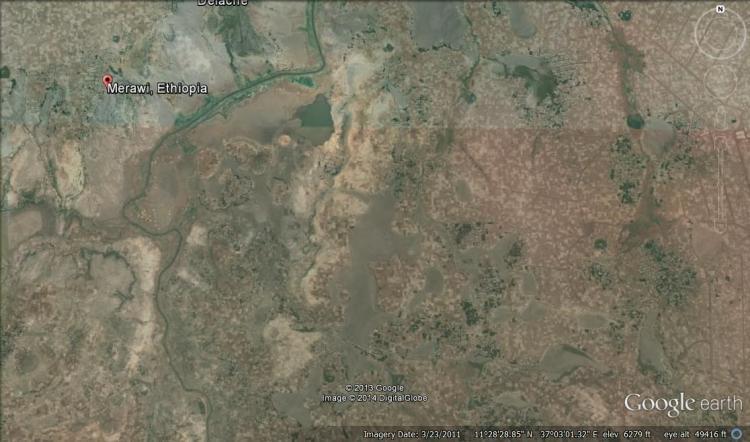 Projektialueemme Mechass Google Earth-ohjelmalla katsottuna.